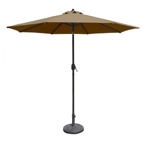 Island Umbrella NU5422SS Mirage Octagonal Market Umbrella with Auto-Tilt Sunbrella Acrylic, 9', Stone