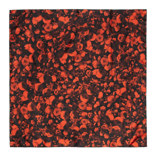GIVENCHY Red & Black Silk Rose Scarf