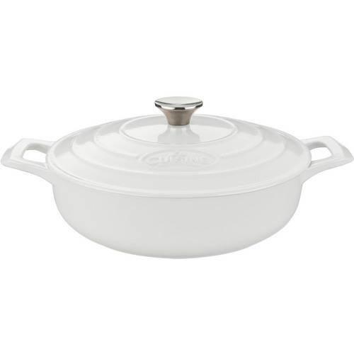 La Cuisine Saute 3.75 Qt. Cast Iron Casserole with White Enamel