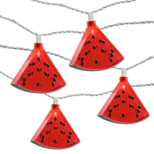 10ct Watermelon String Light Red - Evergreen