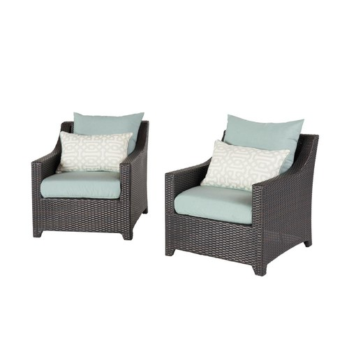 RST Brands Deco 2-Piece All-Weather Wicker Patio Club Chair Seating Set with Spa Blue Cushions