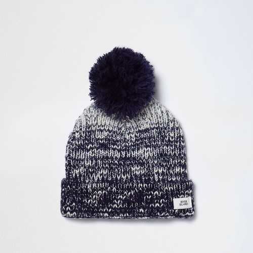 Boys navy ombre knit bobble beanie hat