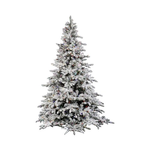 Vickerman 6.5-ft Pre-lit Flocked Artificial Christmas Tree with 550 Multicolor LED Lights