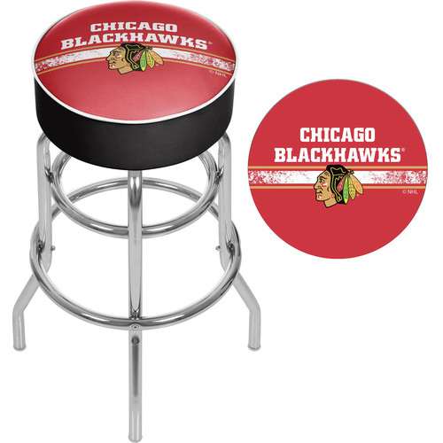 NHL Chrome Bar Stool with Swivel, Chicago Blackhawks