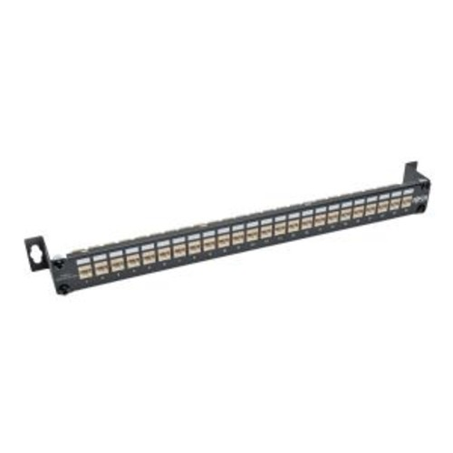 TrippLite 24-Port Cat6a Shielded Feedthrough Patch Panel Down-Angled 1URM (N254-024-SH-6AD)