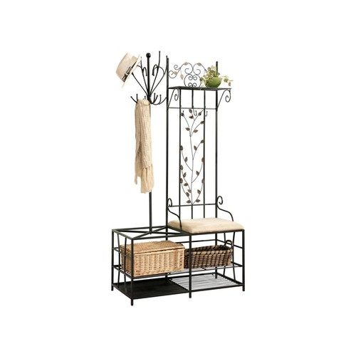 Pilaster Designs - Black Finish Metal Hallway Storage Bench with Coat Rack & Umbrella Holder