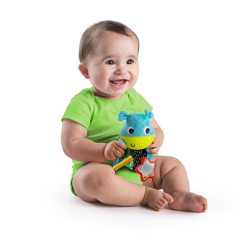 Bright Starts Grab Me Friends Stuffed Hippo Rattle Toy