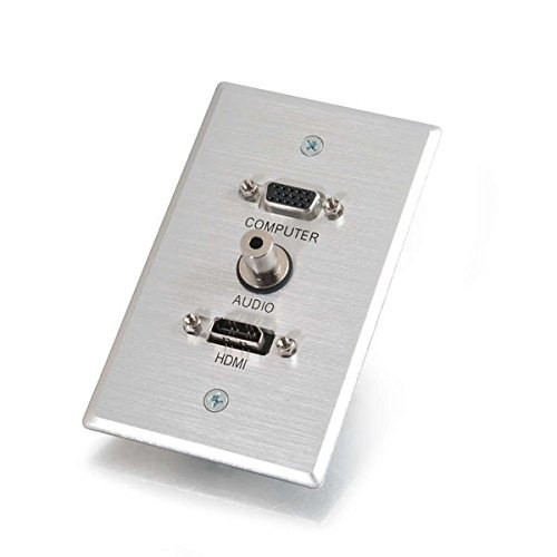 C2g Hdmi, Vga And 3.5Mm Audio Pass Through Wall Plate - Single Gang Brushed Aluminum