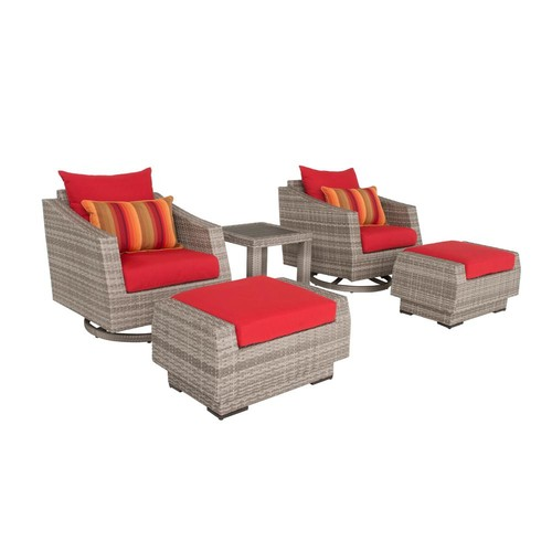 RST Brands Cannes 5-Piece All-Weather Wicker Patio Deluxe Motion Club Chair and Ottoman Conversation Set with Sunset Red Cushions