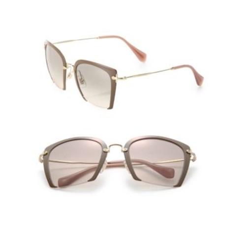 52MM Semi-Rimless Acetate & Metal Square Sunglasses