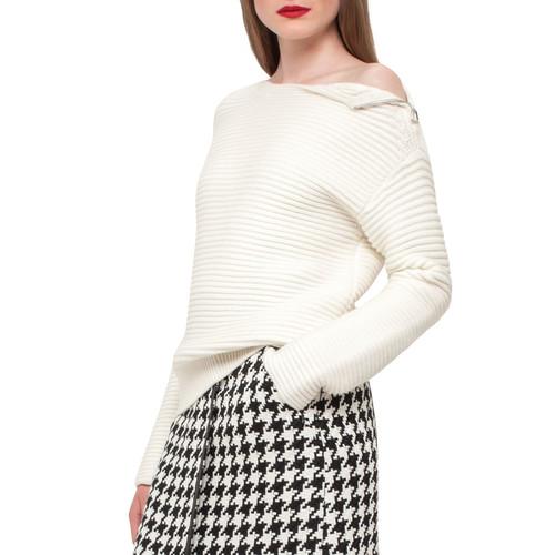 AKRIS Ribbed Knit Zip-Shoulder Sweater, Moonstone