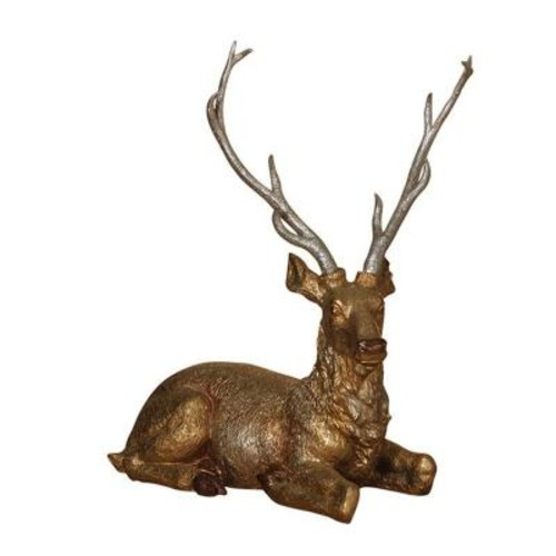 19.6 in. Resting Gold and Silver Glittered Resin Reindeer