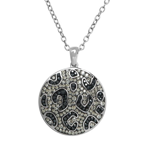 Animal Planet Sterling Silver Crystal Snow Leopard Disc Pendant