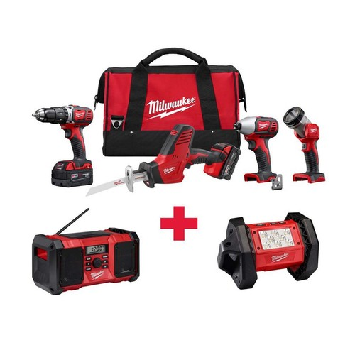 Milwaukee M18 18-Volt Lithium-Ion Cordless Combo Kit (4-Tool) with Free M18 Radio and LED Flood Light