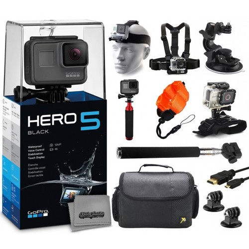 GoPro HERO5 Black + 32GB, Selfie Stick, Case, Floatie, Chest/Head Strap