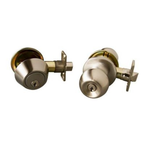 Design House Bay Satin Nickel Entry Door Knob and Single Cylinder Deadbolt with Universal 6-Way Latch