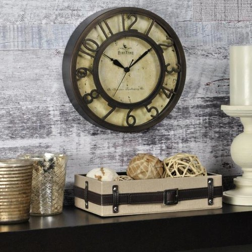 FirsTime 8 in. x 8 in. Round Bronze Raised Number Wall Clock