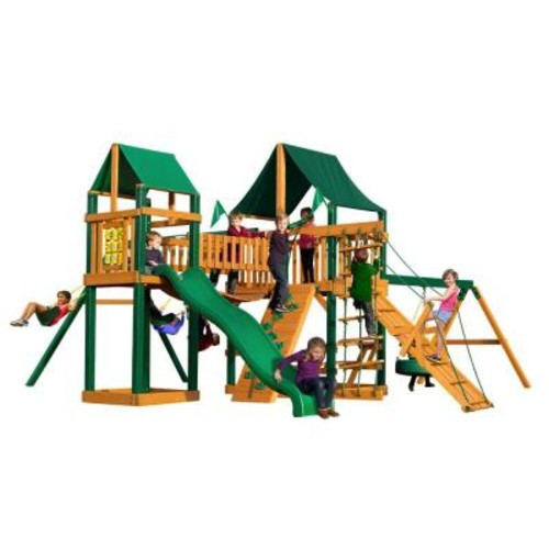 Gorilla Playsets Pioneer Peak with Timber Shield and Sunbrella Canvas Forest Green Canopy Cedar Playset