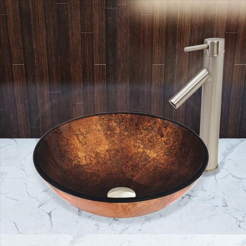 VIGO Russet Glass Vessel Sink and Dior Faucet Set in Brushed Nickel Finish