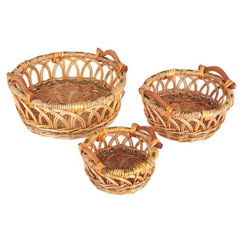 Household Essentials 3-Piece Robin Decorative Wicker Basket Set in Brown