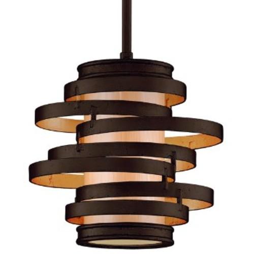 Vertigo Mini Pendant [Finish : Bronze and Gold Leaf with Caramel Ice; Light Option : Incandescent]