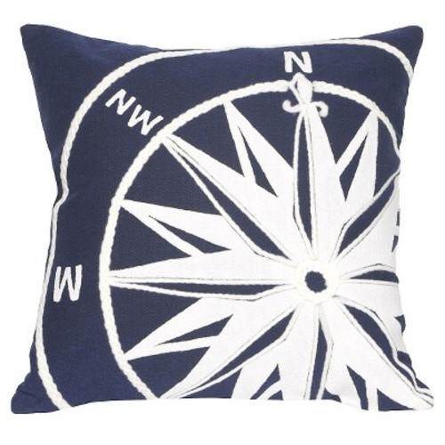 Liora Manne Visions II Compass Indoor/Outdoor Pillow Navy 20 Inches Square