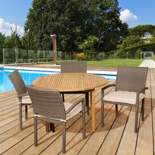 Amazonia Alpine 5 Piece Teak/Synthetic Wicker Round Patio Dining Set with Off-White Cushions