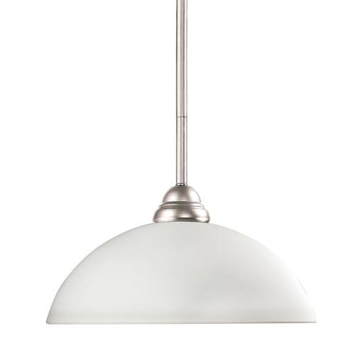 Riviera Brushed Nickel and White Swirl Glass 1-Light Mini Pendant