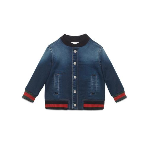 GUCCI Jersey Denim Bomber Jacket, Blue, Size 18-36 Months