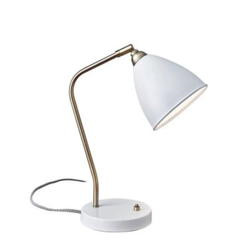 Adesso 21 in. White Chelsea Desk Lamp