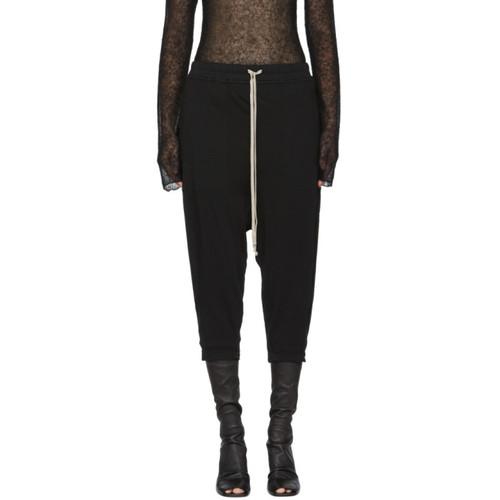 Black Cropped Drawstring Lounge Pants