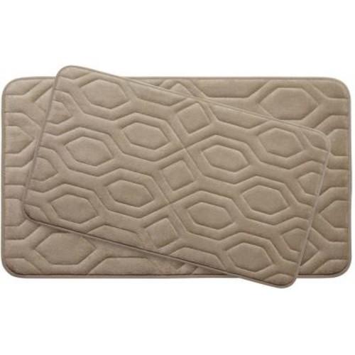 BounceComfort Turtle Shell Linen Memory Foam 2-Piece Bath Mat Set