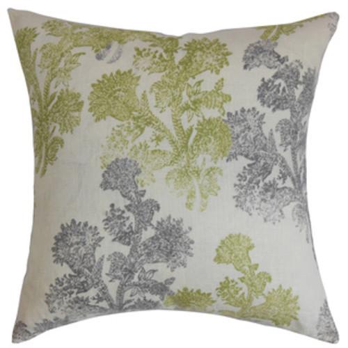 Putri Paisley Gray Feather Filled Throw Pillow