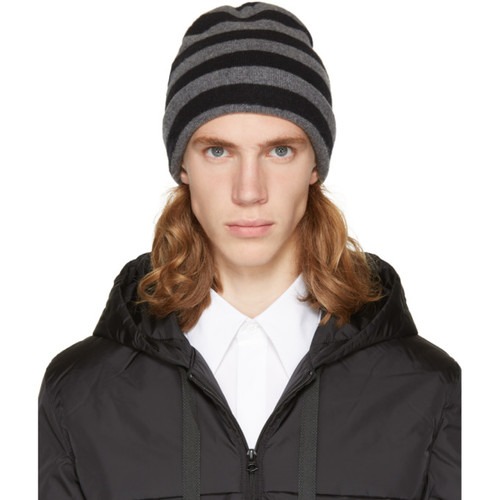 ALEXANDER WANG Grey & Black Striped Beanie