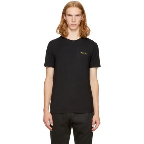 FENDI Black 'Bag Bugs' Rectangle T-Shirt