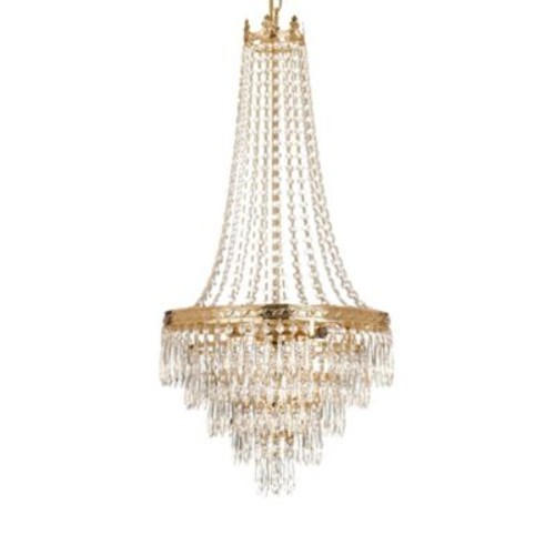 Gallery 4-Light Grand Crystal Chandelier with Gold Tone Accents