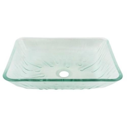 VIGO Icicles Glass Rectangular Vessel Bathroom Sink