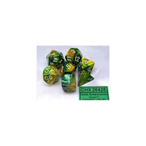 Chessex Manufacturing 26425 Cube Gemini Set Of 7 Dice - Gold & Green With White Numbering