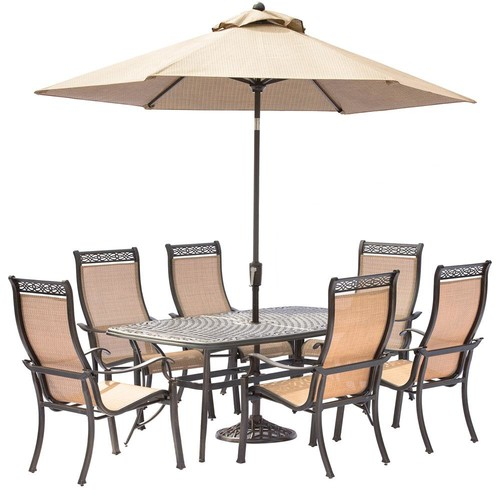 Hanover Manor 7-Piece Aluminum Rectangular Outdoor Dining Set with Cast-Top Table, Umbrella and Base