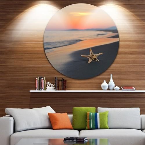 Designart 'Summer Beach with Starfish' Beach and Shore Round Wall Art