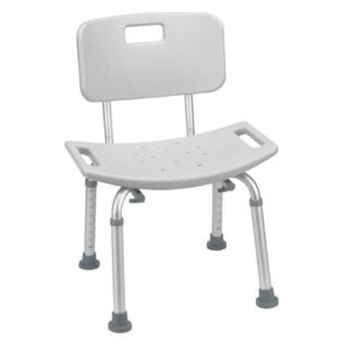 Drive Medical Bathroom Safety Shower Tub Bench Chair in Gray with Back