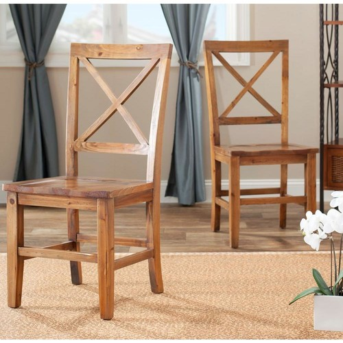 Safavieh Johnny Brown Pine Dining Chair (Set of 2)