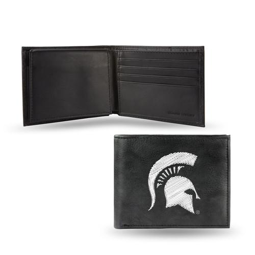 Rico Michigan State Spartans Men's Black Leather Bi-fold Wallet