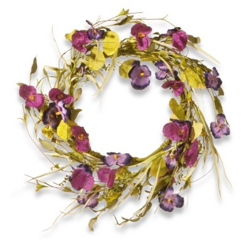 Artificial Poppy and Pansy Wreath Purple 22