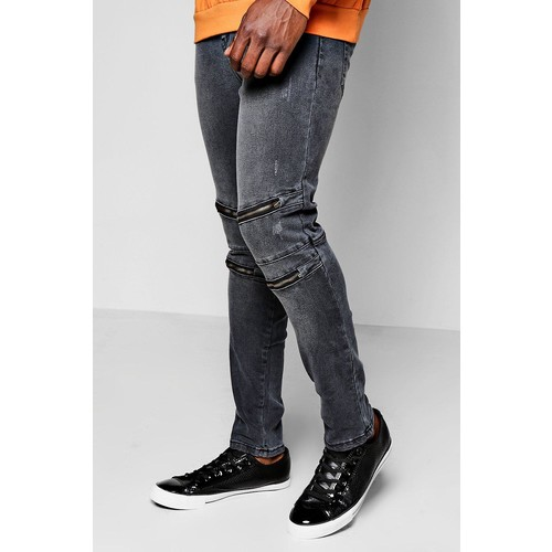 Super Skinny Zip Detail Denim Biker Jeans