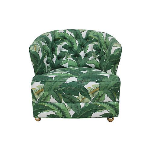 1940s Tufted Palm Leaf Club Chair