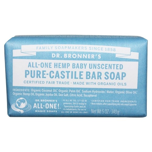 Dr. Bronners - Magic Pure-Castile Bar Soap Organic Baby-Mild Unscented - 5 oz.