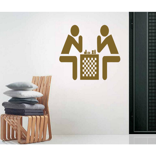 Game of chess Wall Art Sticker Decal Brown