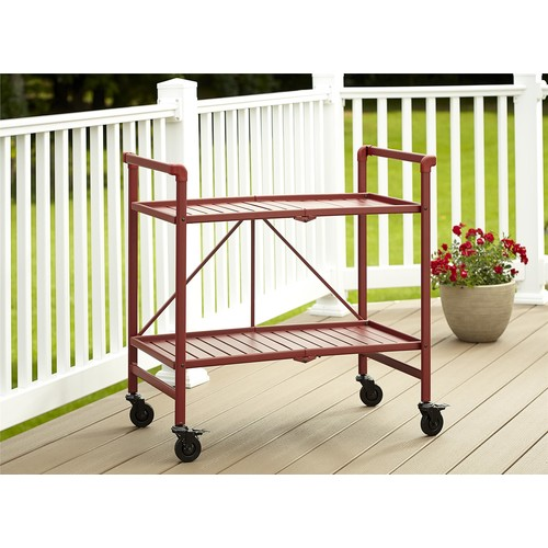 Cosco Home and Office Products Red Metal Slat Folding Serving Cart