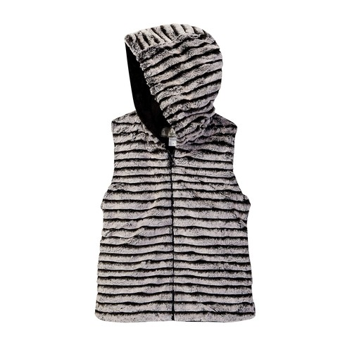 Striped Faux Fur Hooded Vest (Big Girls)